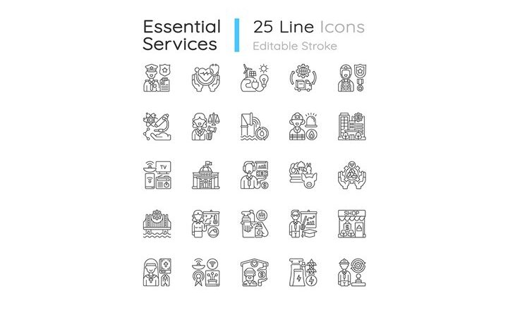 Free Essential services linear icons set