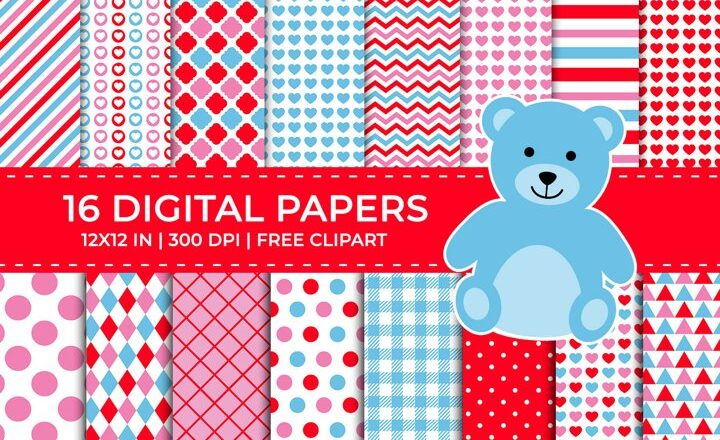 Blue Red & Pink Valentine Digital Papers, Free Teddy Clipart