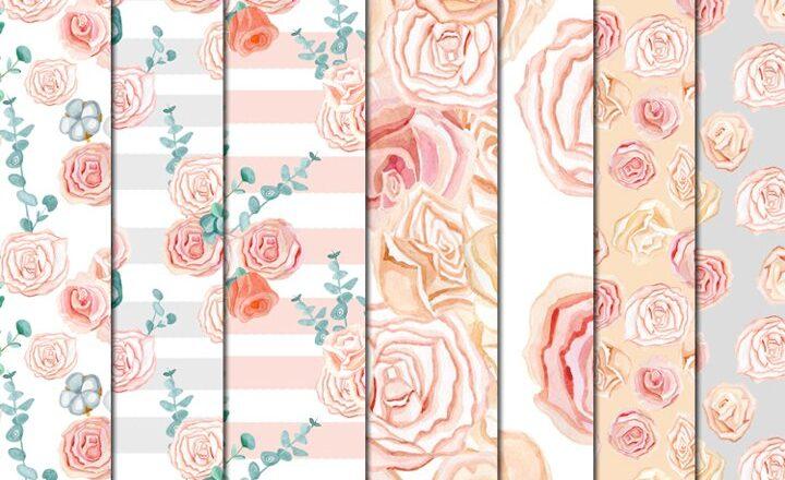 Free Set of watercolor clipart tender romantic flowers roses