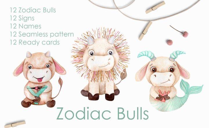 Free Watercolor Bulls Zodiac 2021 Images