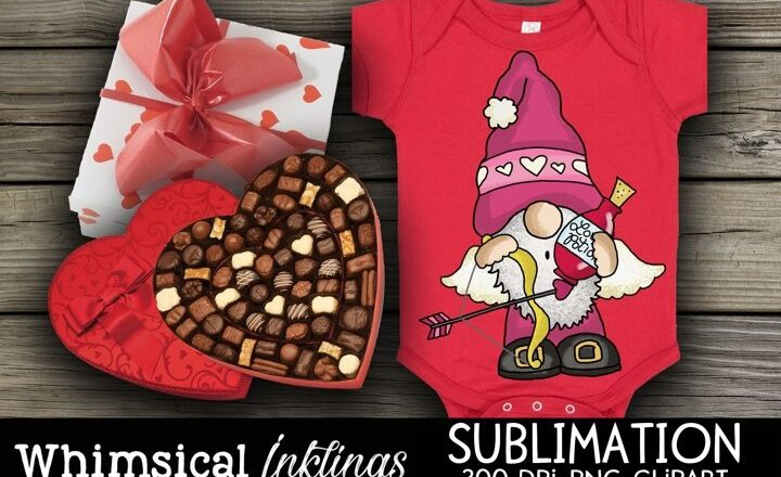 Free Cupid Valentine Gnome Sublimation Clipart