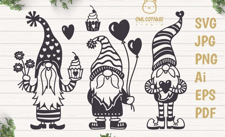 Free Valentines Gnome with Hearts SVG File