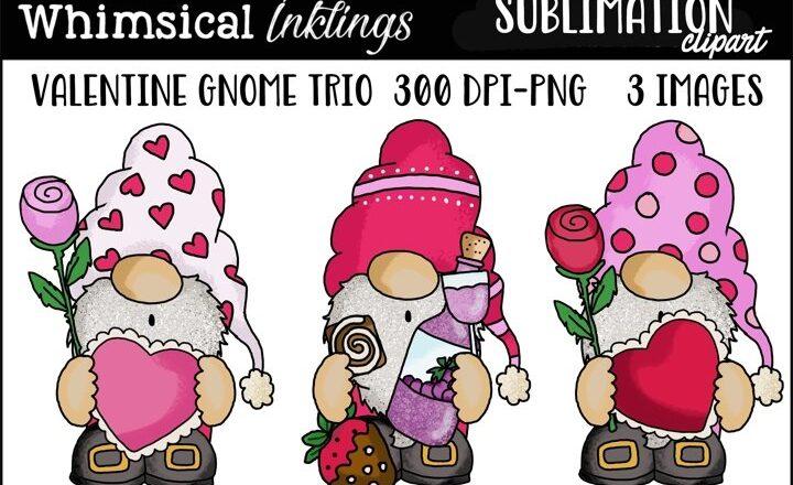 Free Valentine Gnome Trio Sublimation Clipart