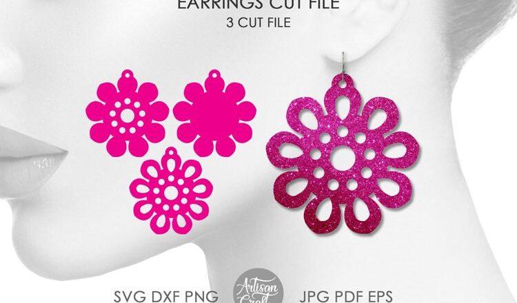 Free Floral earrings SVG File