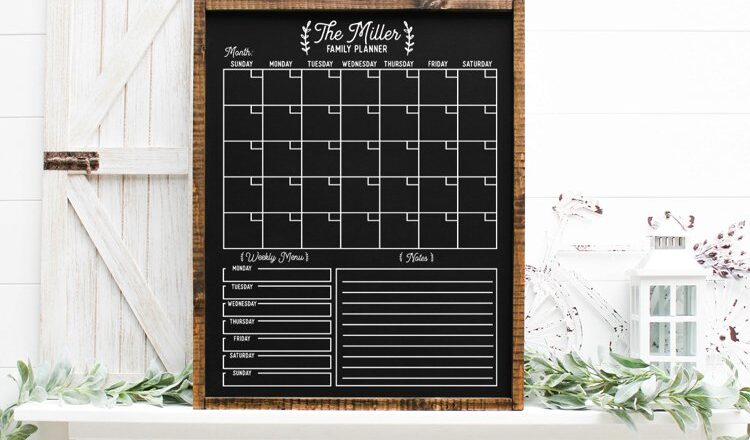 Free Customizable Family Calendar SVG