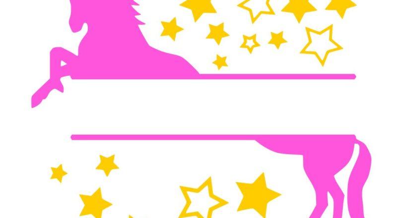 Free Unicorn Monogram SVG Cutting File.